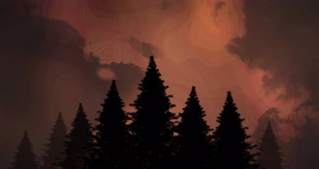 electric strike : Digital composite of silhouette of pine trees with lightning in the sky and clouds in the background
