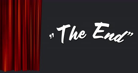 typeface : Digital animation of a white The End Sign appearing as a red curtain opens to the side.