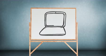 иллюстрировать : Digital animation of a drawing of a laptop in a white board with wooden frame and blue walls.