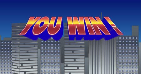 typeface : Digital animation of a You Win! sign zooming in the screen while blinking and a background of grey buildings with blue sky Stock Footage