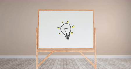 ilustrar : Digital animation of a drawing of a light bulb with yellow lights in a white board with wooden frame inside a room with light pink walls and wooden floor