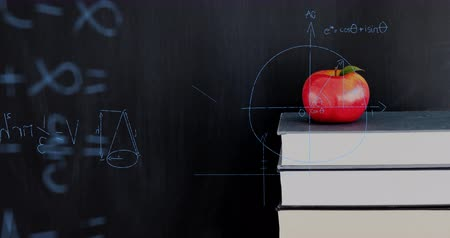 medir : Digital animation of a red apple on top of a pile of books while mathematical equations and graphs move in the screen against a dark background