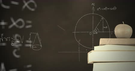 вычислять : Digital animation of an apple on top of a pile of books in monochrome while mathematical equations and graphs move in the screen against a dark background