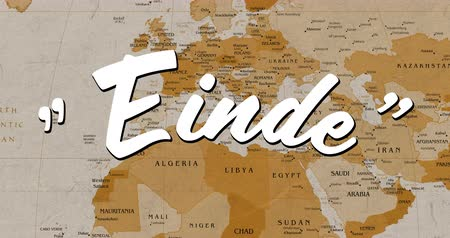 typeface : Digital animation of a white Einde text appearing in the screen while background shows a brown world map
