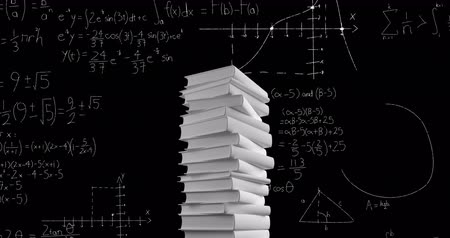 vzorec : Digital animation of a pile of white books while mathematical equations and graphs move in the screen against a dark background