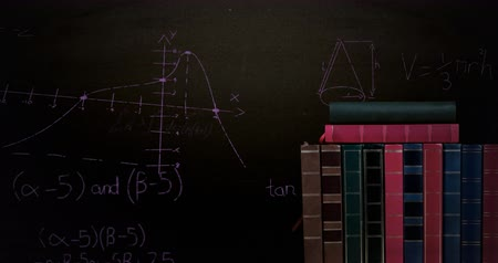 hesaplamak : Digital animation of a pile of books while mathematical equations and graphs move in the screen against a dark background Stok Video