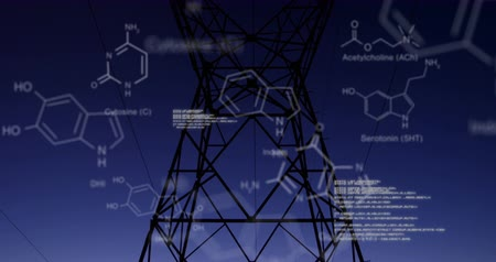 comando : Digital animation of chemical structures and program codes appearing in the screen. Background shows transmission towers in a field during sunset.