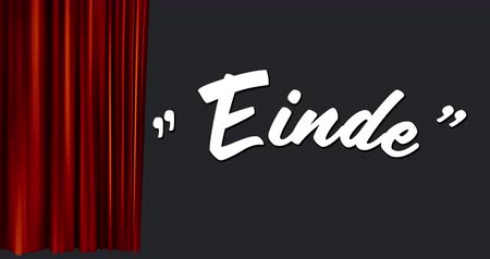 finale : Digital animation of a white Einde Sign appearing as a red curtain opens to the side.