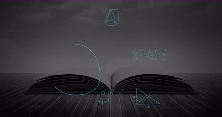 hesaplamak : Digital animation of an open book in a table while mathematical equations and figures move in the black background