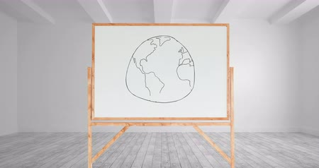иллюстрировать : Digital animation of a drawing of a globe on a white board with a wooden frame inside a white room
