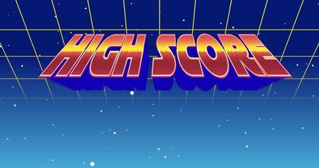 nineties : Digital animation of a High Score sign zooming in the screen while background shows green square outlines moving upwards and the galaxy Stock Footage