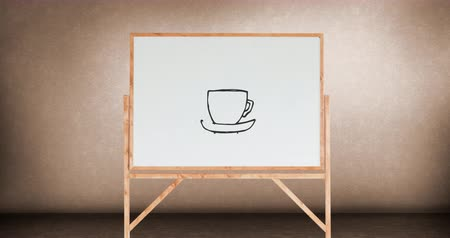 příchutě : Digital animation of a drawing of a cup of coffee on a white board with wooden frame inside a room with pink walls Dostupné videozáznamy
