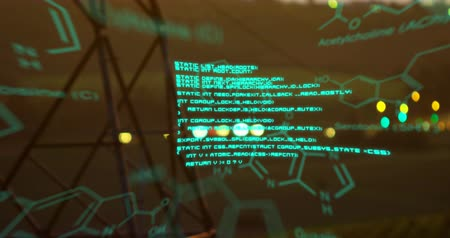 field study : Digital animation of chemical structures and program codes appearing in the screen. Background shows transmission towers in a field with bokeh lights of moving cars in the distance.