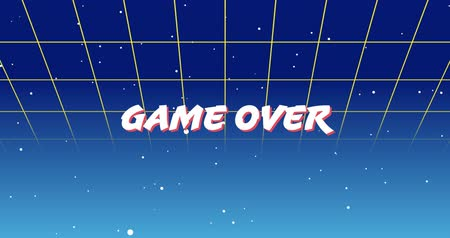 escrito : Digital animation of a Game Over sign zooming in the screen while background shows green square outlines moving upwards and the galaxy