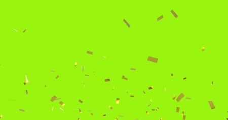 serpentyny : Digital animation of gold confetti falling against a yellow green background