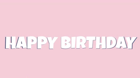 eldobható : Digital animation of a happy birthday greeting with gold confetti. The background is pink
