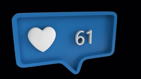 interativo : Digital animation of a heart icon with increasing count in a blue message bubble. The background is black. the heart icon is for social media