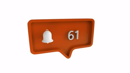 tebliğ : Digital animation of a bell icon with increasing count in a message bubble. The background is white. The bell symbolises notifications for social media