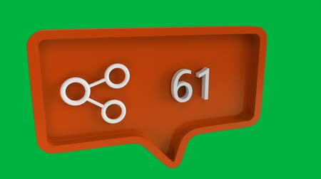 связь : Digital animation of a connect icon with increasing count in a message bubble. The background is green. The connect icon is for social media