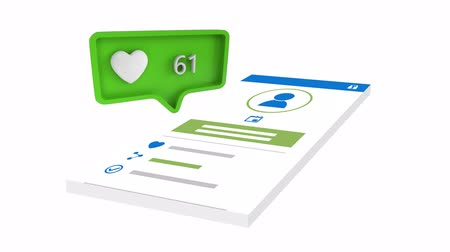 感想 : Digital animation of a heart icon with increasing count in a green message bubble. Bubble is on a post in social media