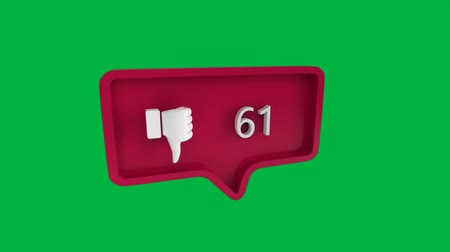 обмен сообщениями : Digital animation of a dislike icon with increasing count in a message bubble. The background is green. The icon is for social media