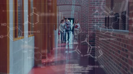 иллюстрировать : Digital composite of a group of collage students walling on a hall way while discussing. The foreground is filled with molecular structures