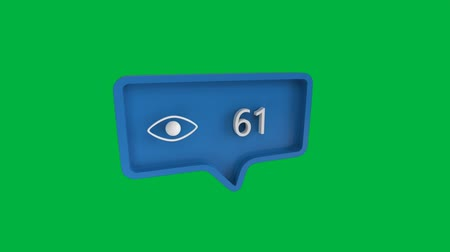 обмен сообщениями : Digital animation of a view icon with increasing count in a blue message bubble. The background is green. The view icon is for social media