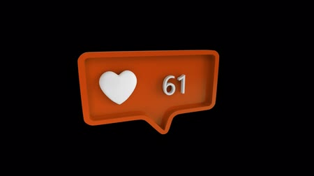 обмен сообщениями : Digital animation of a heart icon with increasing count in a message bubble. The background is black. The heart icon is for social media Стоковые видеозаписи