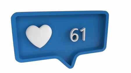 usuário : Digital animation of a heart icon with increasing count in a blue message bubble. The background is white. The heart icon is for social media