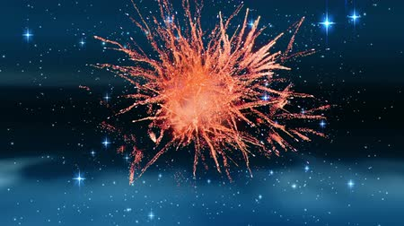 firecracker : Digital animation of a sky filled with stars. Fireworks then burst in the foreground