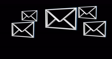 busta : Digital animation of white message envelope icons appearing in the screen against a black background