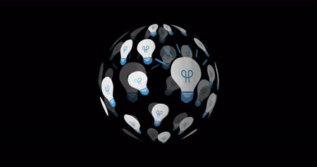 innovare : Digital animation of light bulb icons arranged in a sphere rotating against a black background