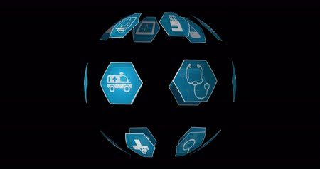 プロフィール : Digital animation of different medical icons in blue hexagons arranged spherically rotating against a black background