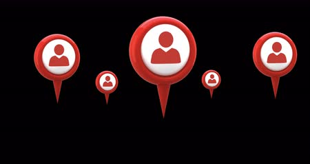 baixar : Digital animation of red map pins with profile icon in the middle hovering against the black screen Vídeos