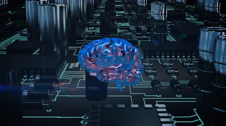 lobe : Digital animation of a rotating brain moving through a circuit board. Stock Footage