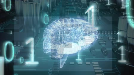 temporal : Digital animation of a glowing brain hologram moving through a circuit board. The foreground is filled with binary codes Stock Footage