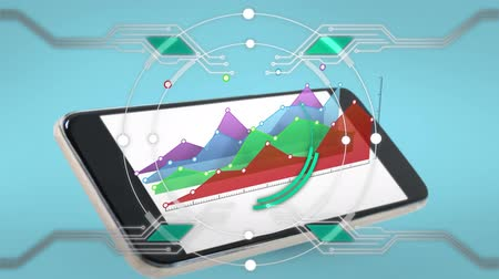 mathematic : Digital animation of line graphs popping out of a smartphone. On the foreground is a ring with lines circling its edges Stock Footage