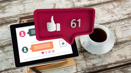 tebliğ : Digital animation of a like icon with increasing count in a message bubble. The bubble is pointing at a tablet beside a cup of coffee for social media