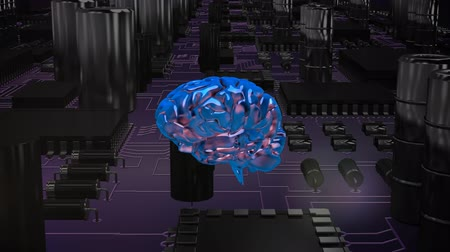 head over : Digital animation of a blue rotating brain moving over a circuit board. Stock Footage