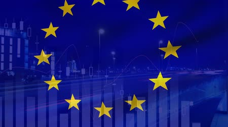diagrama circular : Digital animation of a European flag on a background is graphs and statistics. A view of a highway is also seen in the foreground