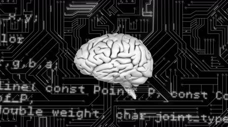 ассоциация : Digital animation of a brain with program codes. The background is a black circuit board with white lines Стоковые видеозаписи
