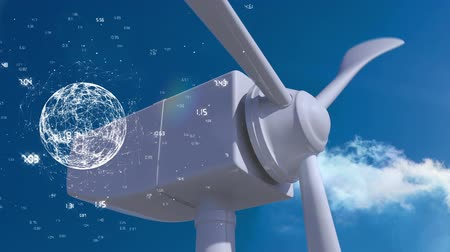 planet : Digital composite of a close up of a windmill rotor. On the foreground is a rotating globe with lines and numbers Stock Footage