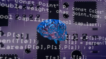 alanlar : Digital animation of a rotating brain with program codes. The background is a circuit board