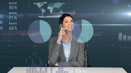 kifinomult : Digital composite of a businesswoman talking on her phone. Behind her are graphs and statistics moving across the background