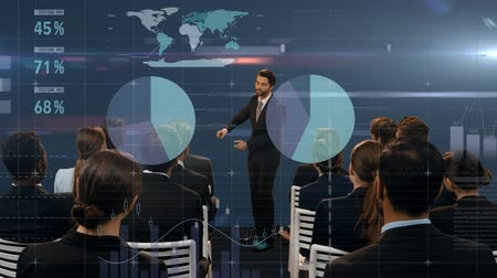 kontinens : Digital composite of a Caucasian businessman doing a presentation for diverse colleagues while a digital interface with different graphs, values, and world map scrolls in the foreground