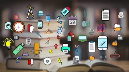 könyvtár : Digital animation of colorful icons moving in the screen while background shows a tablet with a pile of books for back to school Stock mozgókép