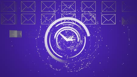 navegador : Digital animation of an analog clock in the middle of the screen surrounded by dots moving while message envelope appears one by one
