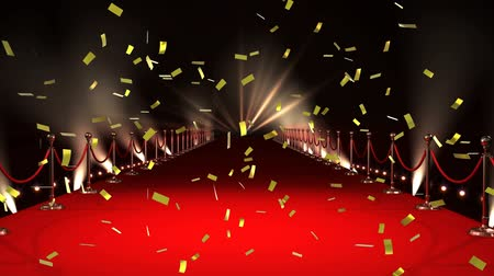 пьедестал : Digital animation of a red carpet with lights and gold confetti falling in the screen Стоковые видеозаписи