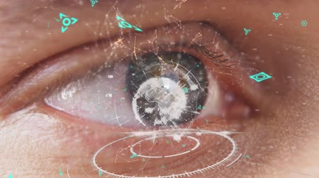 part of the frame : Digital animation of a digital globe rotating above a circle and asymmetrical lines with futuristic symbols moving in the screen while background shows an eye blinking Stock Footage