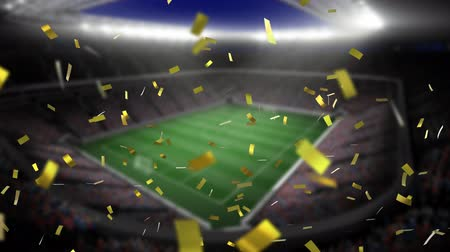 preenchido : Digital animation of a filled stadium with lights while gold confetti fall in the screen
